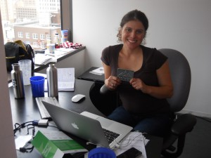 Nicole Glaros showing off her TechStars Cloud belt buckle in San Antonio