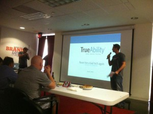 Frederick Mendler pitching TrueAbility at San Antonio Startup Weekend