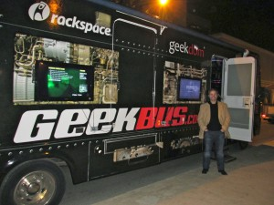 SparkEd Director Louie Pacilli with the Geekbus, which will start visiting local schools in January.