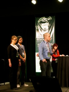 CareerMob team pitches to judges at StartupBus 2013 Finals.