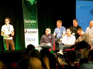 Another team pitching at StartupBus to judges at Rackspace.