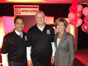 Mayor Julian Castro, Rackspace Co-Founder and Chairman Graham Weston and City Manager Sheryl Sculley at the Rackspace Open Cloud Academy dedication. Photo courtesy of Mayor Julian Castro's office