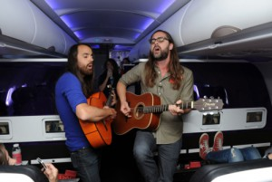 Austin-based psychedelic rock band, The Bright Light Social Hour on Virgin America flight to Austin, Photo courtesy of Virgin America