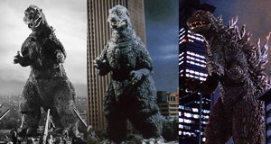 Screenshots from the films Godzilla, The Return of Godzilla and Godzilla 2000, photo from Wikipedia