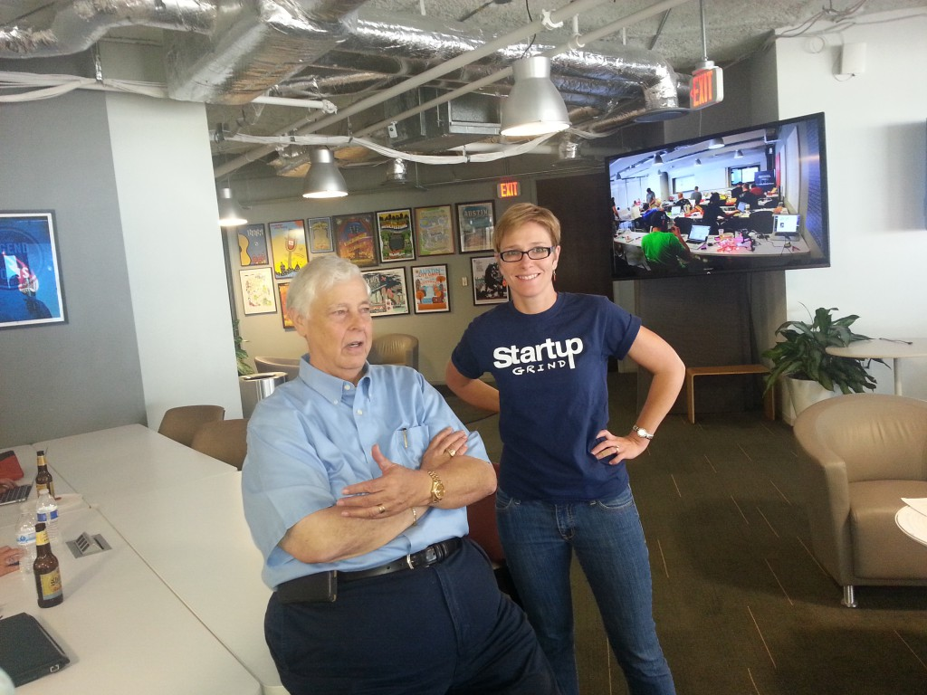 Mike Maples Sr. with Startup Grind Austin's Andi Gillentine