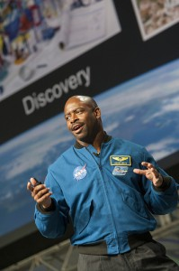 Astronaut Leland Melvin speaking at NIWeek, photo courtesy of National Instruments