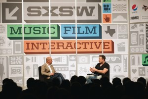 Chris Anderson interviewing Elon Musk at SXSW Interactive 2013, photo courtesy of SXSW
