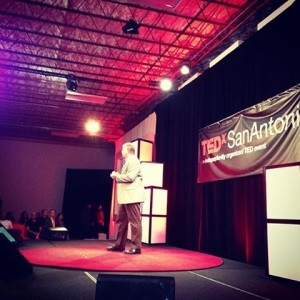 Graham Weston, chairman and co-founder of Rackspace, welcomes the TEDxSanAntonio crowd to his company's headquarters, known as The Castle.