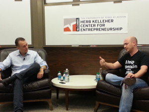 Brett Hurt, UT Entrepreneur in Residence, interviewing Josh Baer, co-founder of Capital Factory, serial entrepreneur and angel investor.