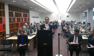 San Antonio Mayor Julian Castro speaking at the