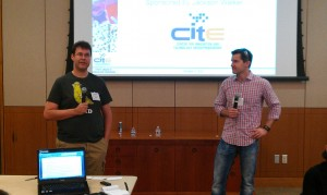 Dirk Elmendorf and Pat Condon, co-founders of Rackspace, speaking at an Entrepreneurial Bootcamp at the University of Texas at San Antonio.