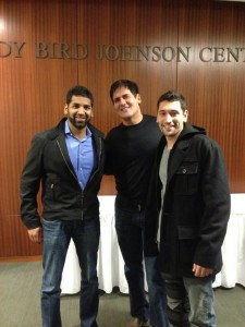 Mark Cuban meets the team behind The Zebra, an Austin startup he invested in but has never met in person until Longhorn Startup Demo Day.