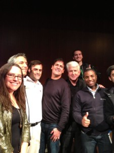 The crowd clamoring to get a picture with Mark Cuban and Bob Metcalfe at the end of Longhorn Startup Demo Day