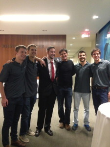 Mark Cuban with the Longhorn Startup team of Pinecone