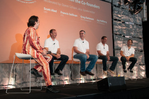 (L-R) Bacon suit-clad Spiceworks IT pro Darren Schoen interviews Spiceworks co-founders, CEO Scott Abel, CTO Francis Sullivan, VP of Development Greg Kattawar, and VP of Marketing Jay Hallberg at SpiceWorld Austin 2012.