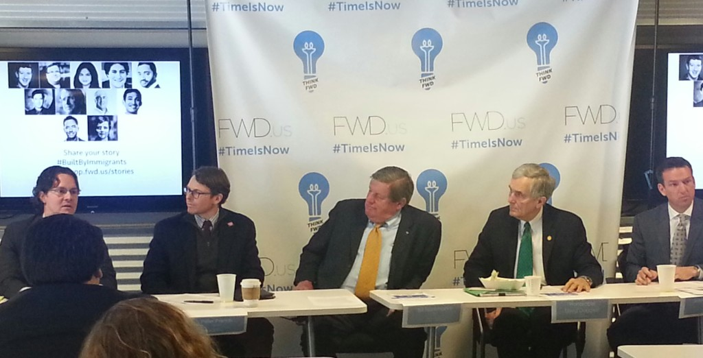 Immigration reform panelists: Michael Golden, partner with Boulette & Golden, Peter French with FreeFlow Research, Bill Hammond, with the Texas Association of Business, Rep. Lloyd Doggett and  John Holmes with Freescale Semiconductor.