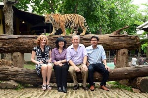 Susan Lahey, far left at Tiger Kingdom in Thailand, Photo courtesy of Anawat Chullasewok