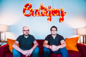 Alex Morse and Amir Elaguizy, co-founders of Cratejoy in Austin, photo by Leslie Anne Jones