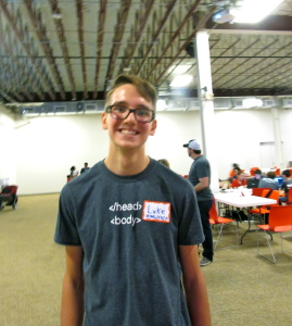 Luke Wright, 16, a volunteer at San Antonio Youth Code Jam at Rackspace