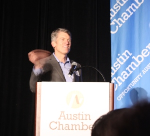 Dr. Clay Johnston, inaugural dean of the Dell Medical School at the Austin Chamber's Innovation Summit, photo by Susan Lahey