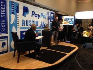 Jeffrey Malkoon and his mother Teresa Malkoon of PB Americano pitch Daymond John at PayPal's Startup Duel.