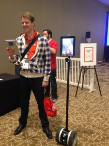 A guy trying out Double Robotics telepresence robot
