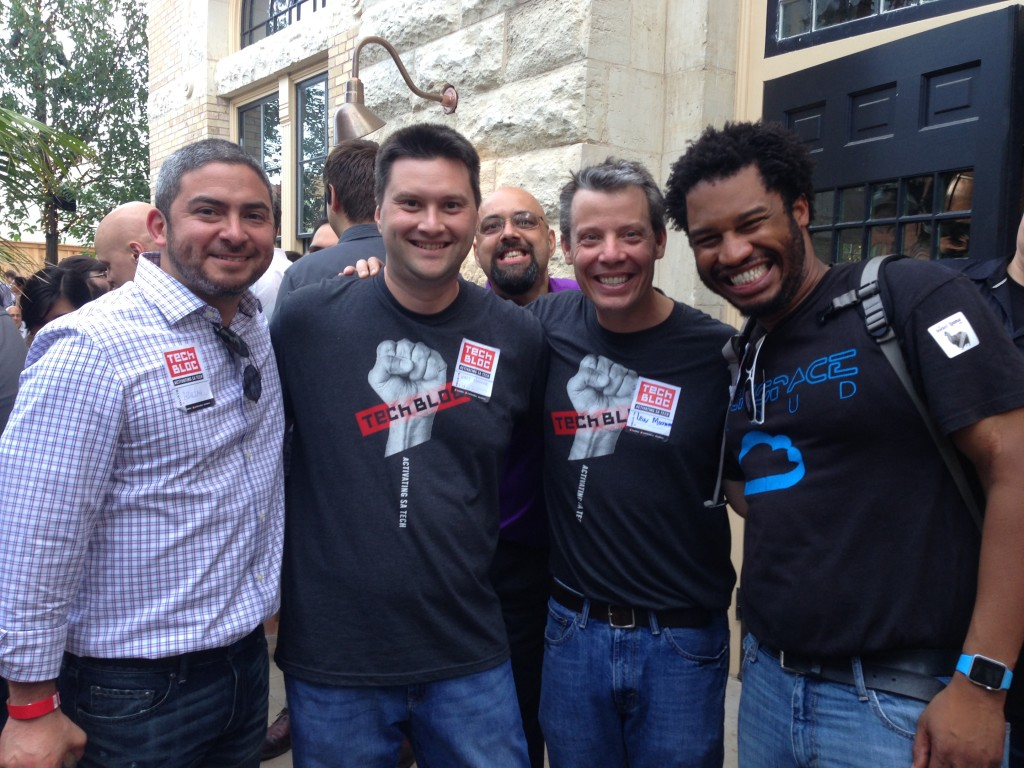 Rackspace Employees Adrian Dominguez, Hart Hoover, (Former Rackspace President) Lew Moorman and Sammy Balogun (Cutline info courtesy of Dale Bracey)