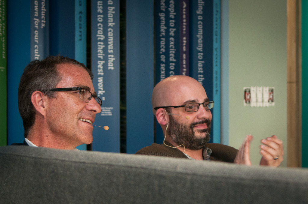 John Battelle in a fireside chat with Josh Rubin of the Daily Dot at NewCoATX, photos by John Davidson