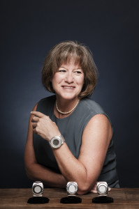 Jean Anne Booth, founder and CEO of UnaliWear, maker of the Kanega Watch for seniors, photo by John Davidson.