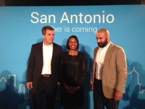 Mark Strama, head of Google Fiber, Texas, San Antonio Mayor Ivy R. Taylor and Lorenzo Gomez, director of Geekdom