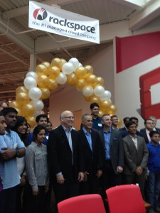 Rackspace, Intel and UTSA officials and UTSA interns at the opening of the OpenStack Innovation Center at Rackspace's headquarters.