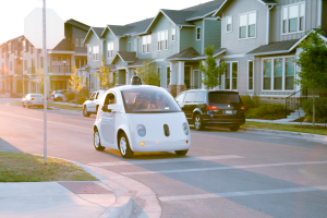 Google prototype car on Austin roads, courtesy photo.