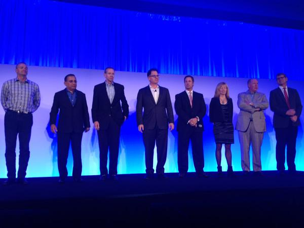 Michael Dell and his senior management on stage at the Dell World press conference.