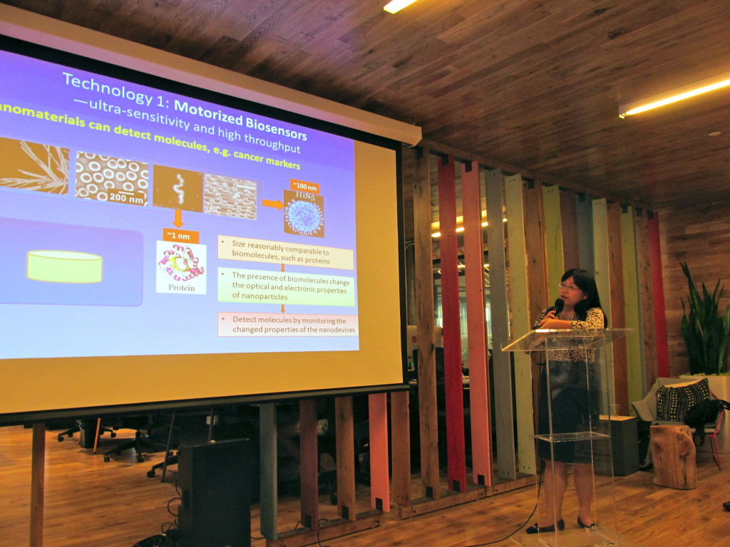 "Donglei ""Emma"" Fan, an assistant professor in the department of mechanical engineering at UT, presenting Nova Minds."