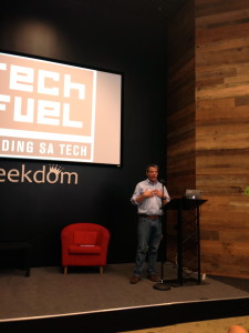Lew Moorman, Tech Bloc's board chairman discussing the new Tech Fuel competition.