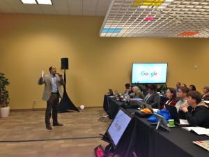 U.S. Rep. Will Hurd talks to small business owners at Google's Let's Put Our Cities on the Map program in San Antonio.