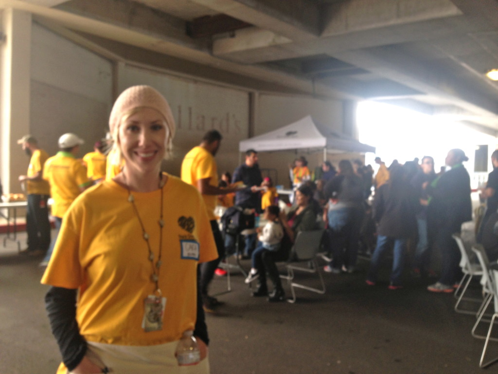 Cara Nichols, community affairs director for Rackspace, at Rackspace's Thanksgiving Day food distribution event.