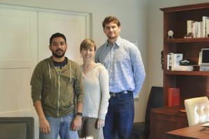 Authors.me Developer Uzair Rahim, Authors.me Co-Founder Monica Landers and Henrik Kjallbring, developer with Authors.me