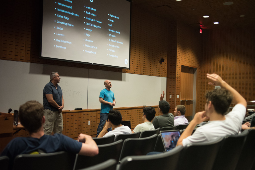 Damon Clinkscales and Joshua Baer teaching Longhorn Startup seminar at the University of Texas at Austin.  Photo by Graham Dickie.