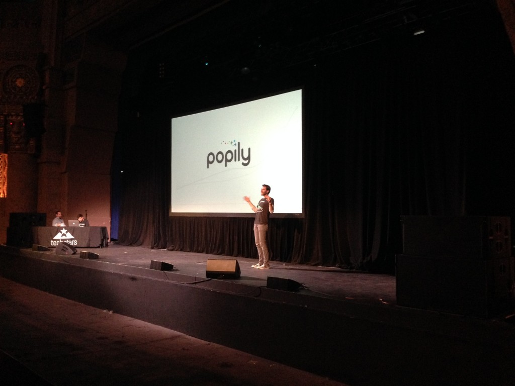 Jonathon Morgan, co-founder of Popily presents the data story telling tool at Techstars Demo Day