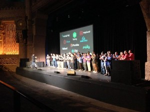 The 2016 Techstars Cloud Class at Techstars Demo Day at the Aztec Theater in downtown San Antonio.