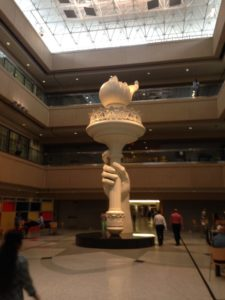 The Freedom Torch inside USAA's main headquarters in San Antonio.