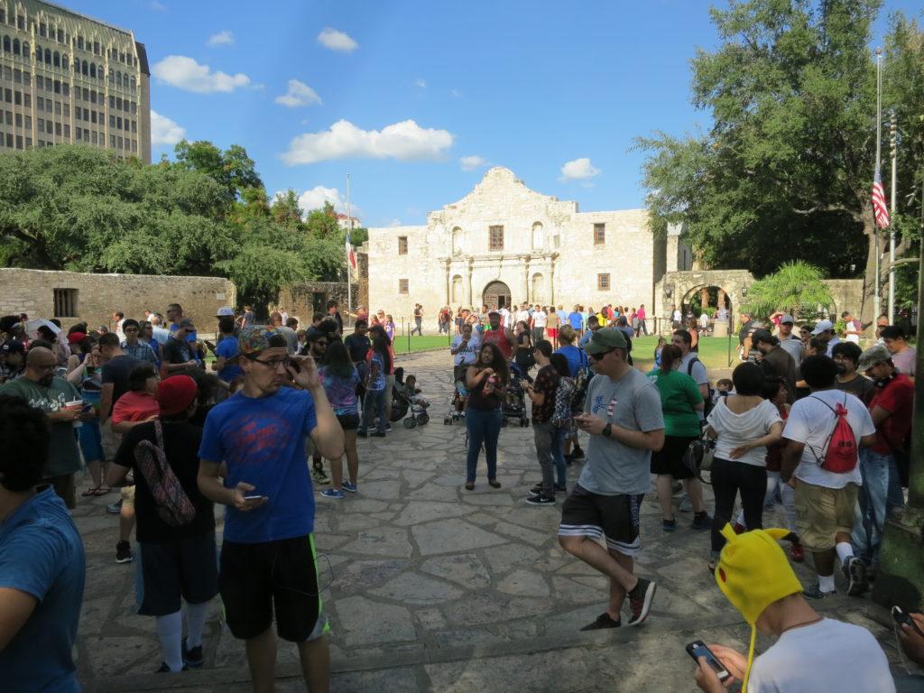 Pokemon Go players gathered at the Alamo