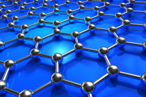 Abstract blue molecular nanostructure model. width=