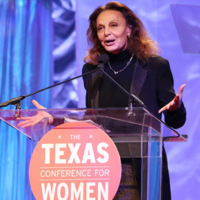 Diane von Furstenberg speaks at the 'Keynote Luncheon' during the 'Texas Conference For Women. (Photo by Marla Aufmuth/Getty Images for Texas Conference for Women)