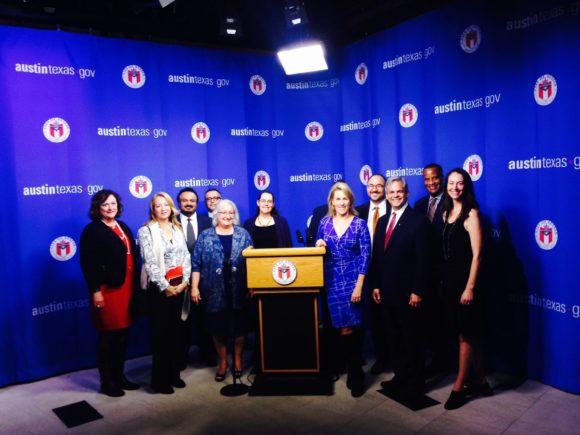 Grant Awardees with the U.S. Assistant Secretary of Commerce Jay Williams and Austin Mayor Steve Adler at Austin City Hall.