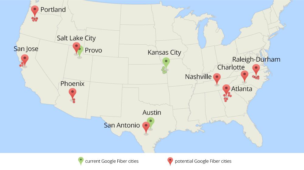 San Antonio On A Short List For Google Fiber High Speed Internet - Map of us san antonio